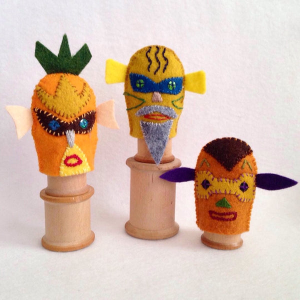 MASKED & MYSTERIOUS FINGER PUPPETS, SET #1 by artist Ulla Anobile