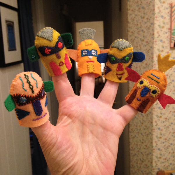 MASKED & MYSTERIOUS FINGER PUPPETS, SET #2 by artist Ulla Anobile