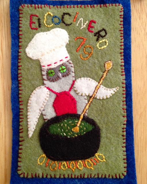EL COCINERO (The Chef), Owl Making His Secret Sauce #79 by artist Ulla Anobile