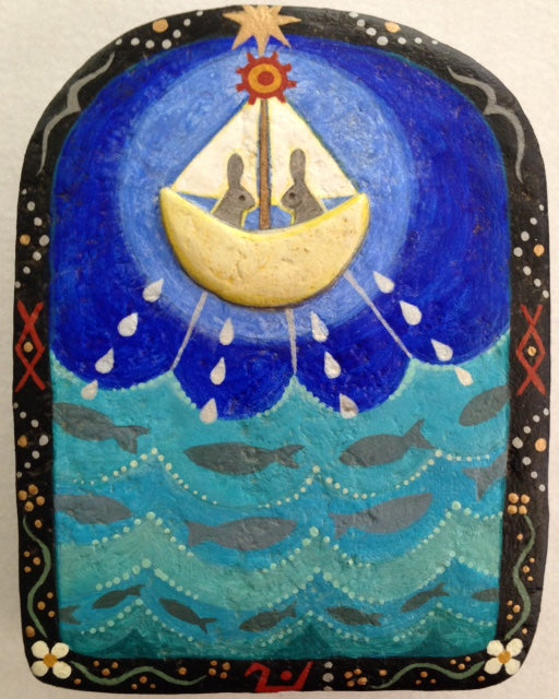 MOON BOAT OVER THE SEA by artist Ulla Anobile