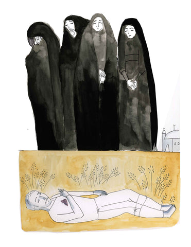MY FATHER'S BURIAL by artist Zahra Marwan