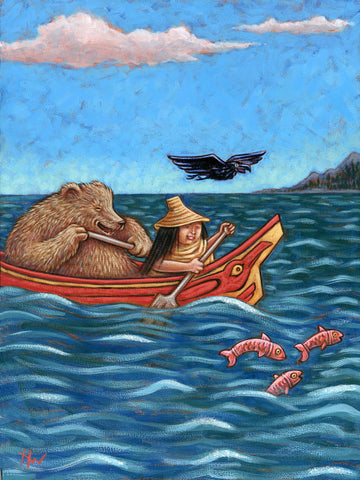 #48 LA CHALUPA / Bear and Bear Wife in a Canoe (The Canoe) by artist Holly Wood