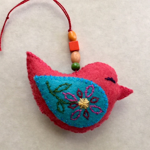 PLUMP BIRD ornament (Persian blue wings) by artist Ulla Anobile
