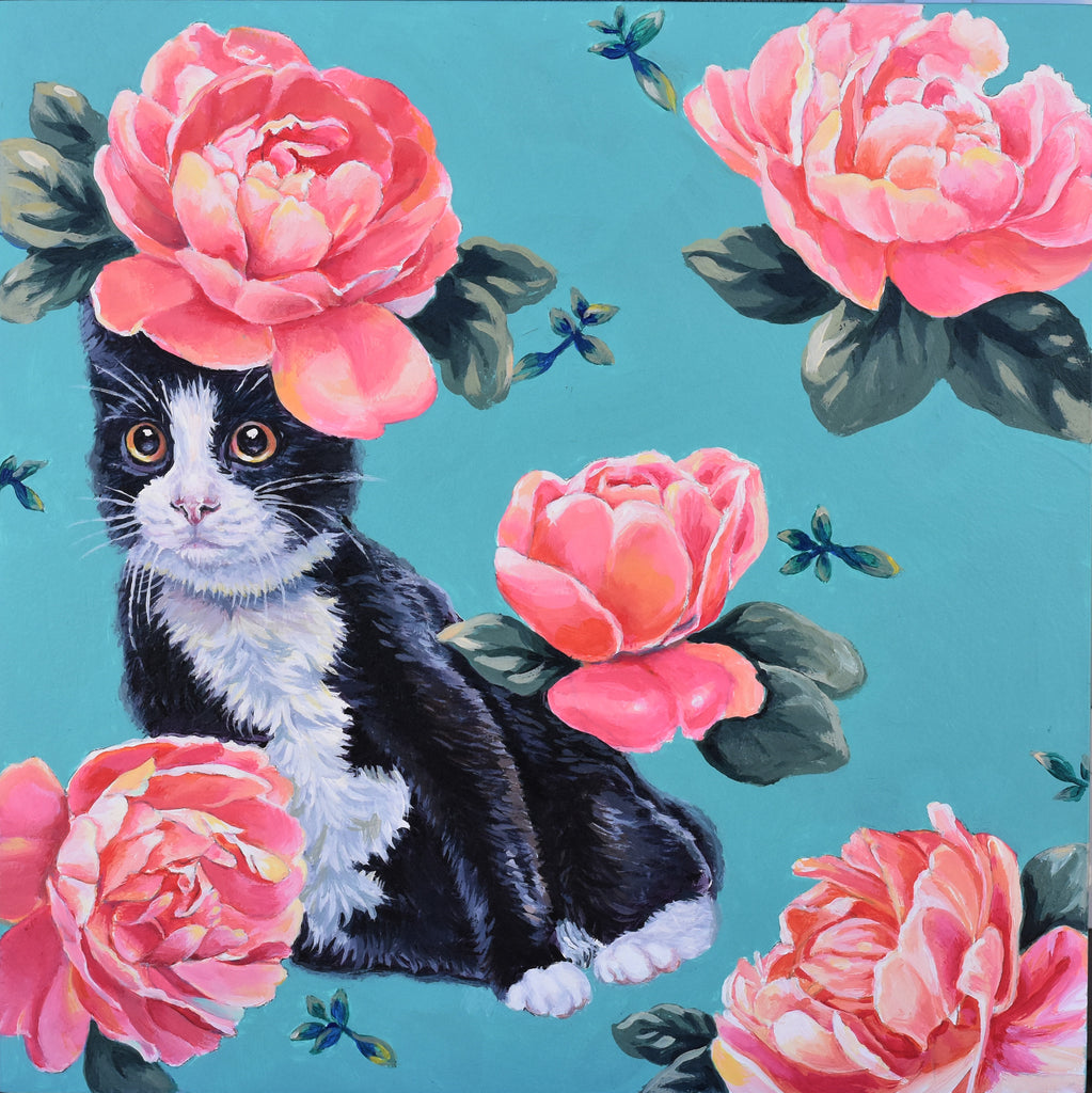 CAT CAMOUFLAGED BY FLORAL WALLPAPER by artist Lydia Moon Hee Kim