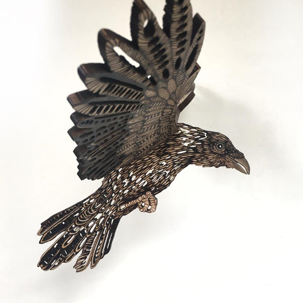 CROW IN FLIGHT by artist Samantha Jane Mullen