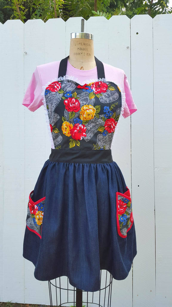 Denim Floral Loteria inspired aprons by Los Lover Dovers