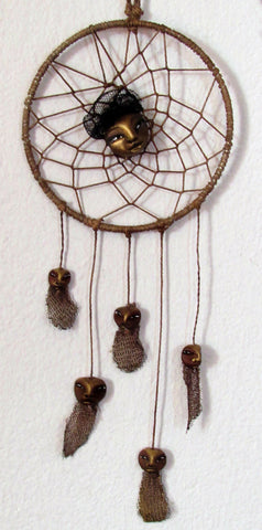 HANGING DREAM CATCHER with 5 SMALL FACES by artist Patricia Krebs