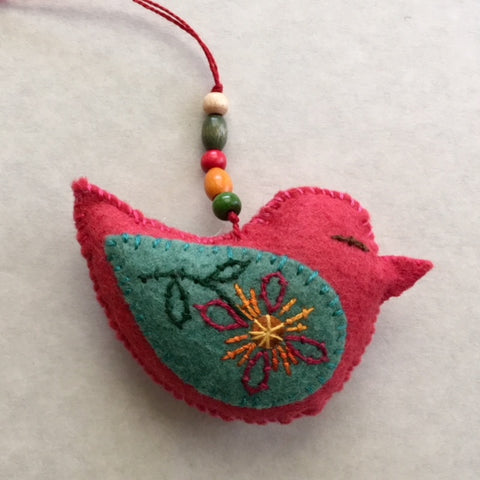 PLUMP BIRD ornament (meadow green wings) by artist Ulla Anobile