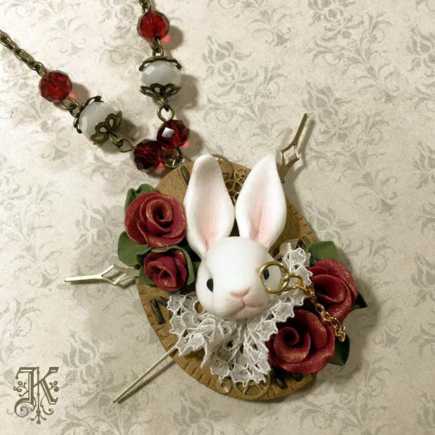 White Rabbit Necklace II by artist Kamenthya