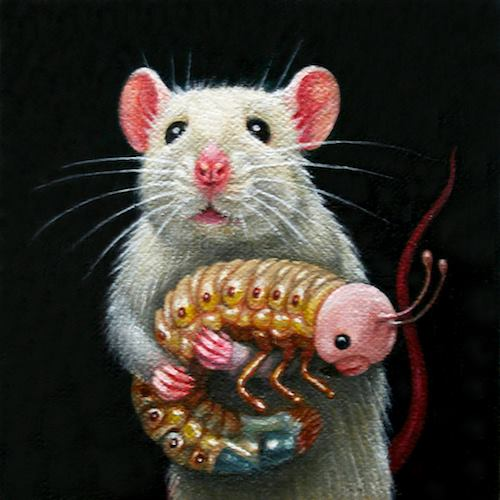 Lady Mouse with Her Pet Maggot Giclee Print by artist Olga Ponomarenko