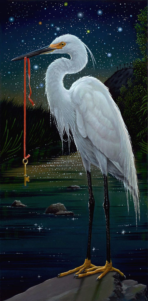 Egret Knows Where to Keep It by artist Olga Ponomarenko