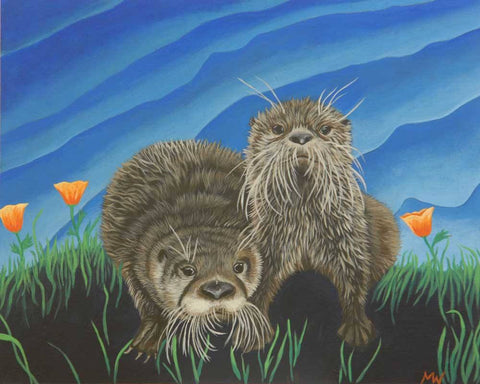 River Otters and California Poppies by artist Michelle Waters