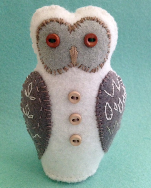 WINTER OWL (white with gray wings) by artist Ulla Anobile