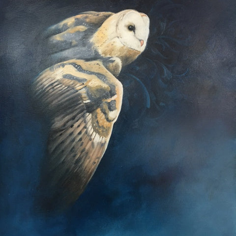 Flying Barn Owl by artist Bryan Holland