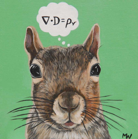 Physics Squirrel by artist Michelle Waters