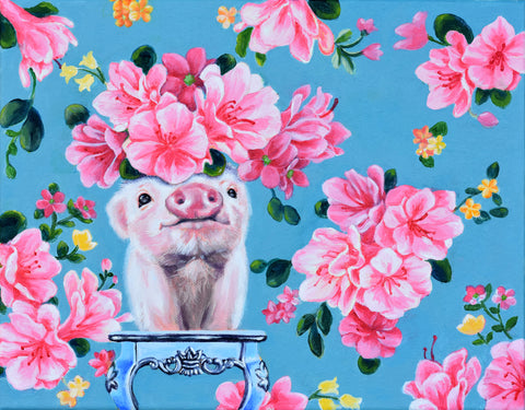 BABY PIG CAMOUFLAGED BY FLORAL WALLPAPER by artist Lydia Moon Hee Kim