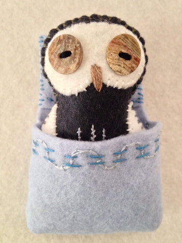 POCKET OWL with Ice Blue Sleeping Bag by artist Ulla Anobile