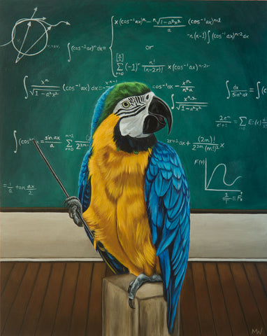 PROFESSOR MACAW IS NOT A BIRD BRAIN by artist Michelle Waters