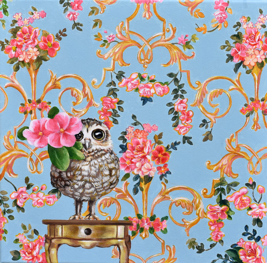 BABY OWL CAMOUFLAGED BY WALLPAPER by artist Lydia Moon Hee Kim