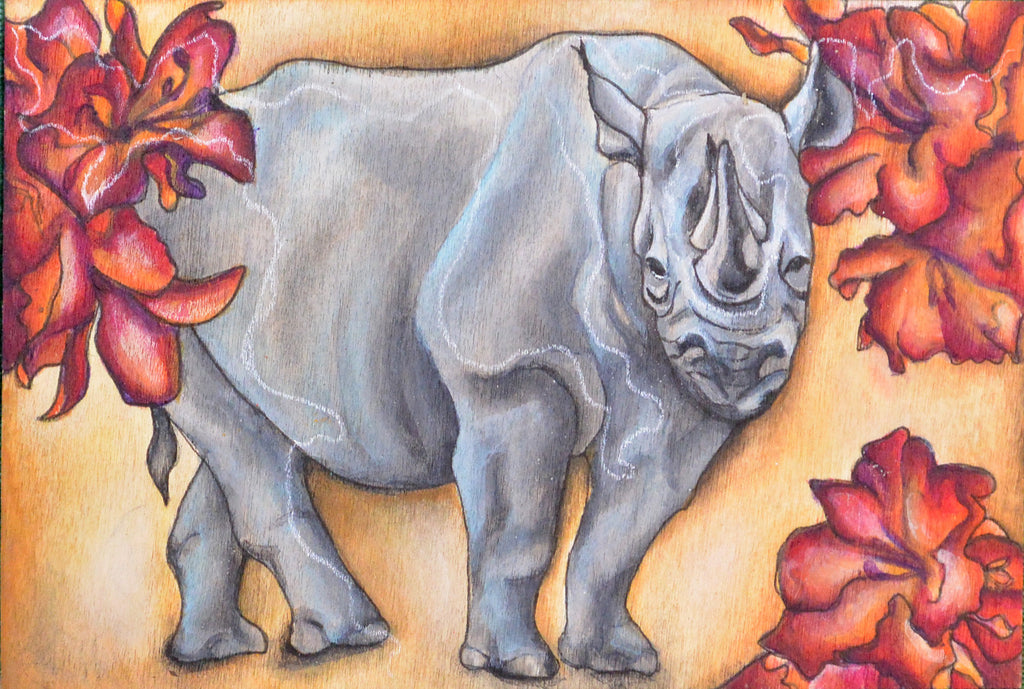 """Rhino and Rhodededron"" by Sarah Polzin"