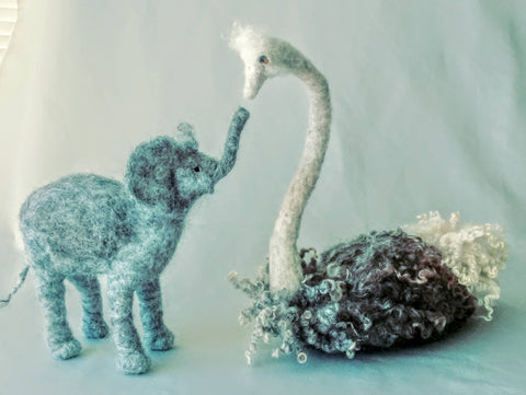 PEA THE OSTRICH AND JOTTA THE BABY ELEPHANT by artist Riitta Tuulia Beattie
