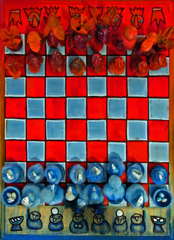 """Seeds vs Feathers"" Chess Set by artist Patricia Krebs"