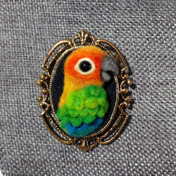 SUNNY NEEDLE FELTED BROOCH by artist Julie B