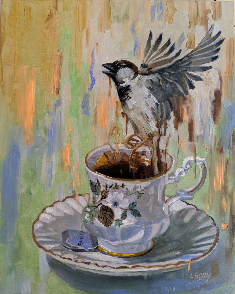 TEACUP SPARROW by artist Lacey Bryant
