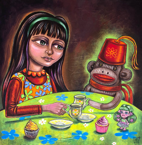 TEA WITH CHICO by artist Christine Benjamin