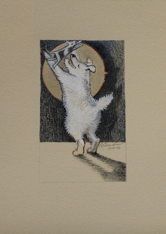 THE LITTLE DOG LAUGHED TO SEE SUCH SPORT by artist Janet Olenik