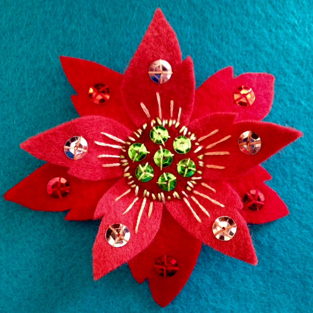 POINSETTIA BROOCH #4 by artist Ulla Anobile