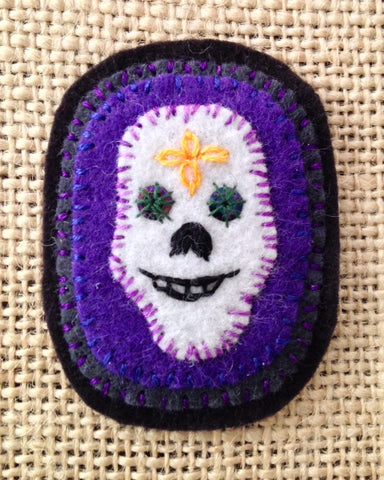 SKULL BROOCH #3 (Purple) by artist Ulla Anobile