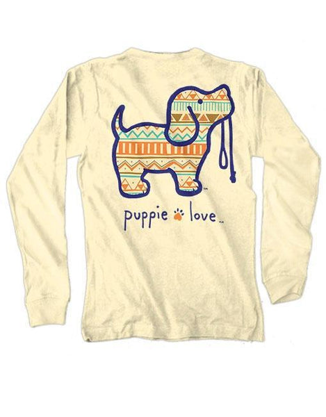 AZTEC PUP Long Sleeve Tee by PUPPIE LOVE™ [DONATES TO ANIMAL SHELTER]