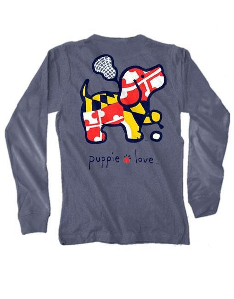 MD LAX PUP Long Sleeve Tee by PUPPIE LOVE™ [DONATES TO ANIMAL SHELTER]