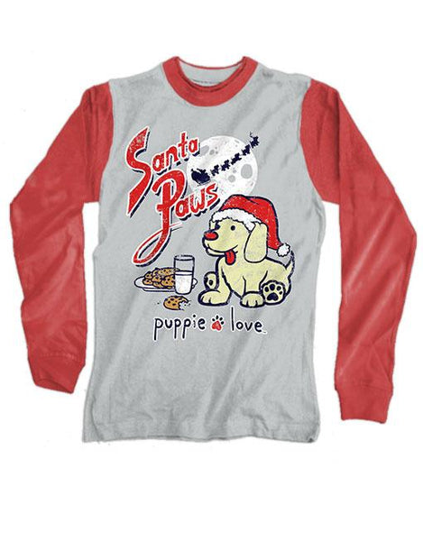 SANTA PAWS Long Sleeve Tee by PUPPIE LOVE™ Tees [DONATES TO ANIMAL SHELTER]
