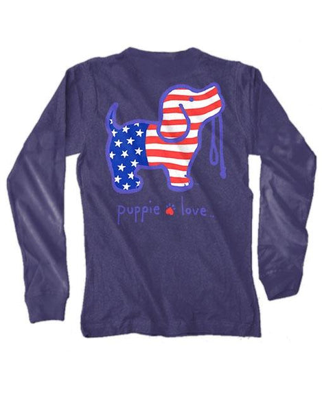 USA PUP Long Sleeve Tee by PUPPIE LOVE™ [DONATES TO ANIMAL SHELTER]