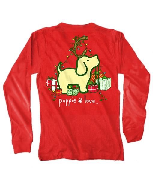 XMAS REINDEER PUP Long Sleeve Tee by PUPPIE LOVE™ [DONATES TO ANIMAL SHELTER]