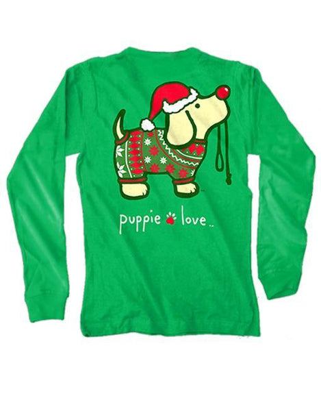 XMAS SWEATER PUP Long Sleeve Tee by PUPPIE LOVE™ [DONATES TO ANIMAL SHELTER]