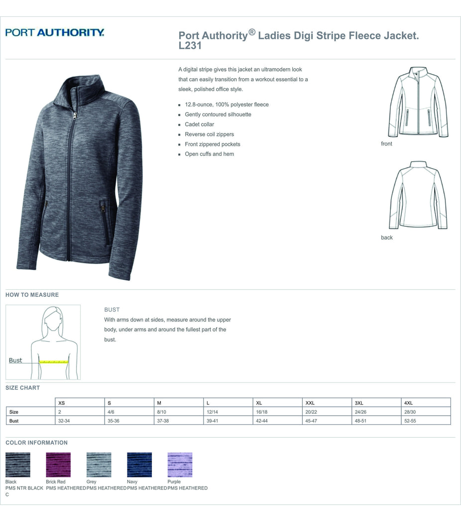 SJMC Port Authority® Ladies Digi Stripe Fleece Jacket L231 Women