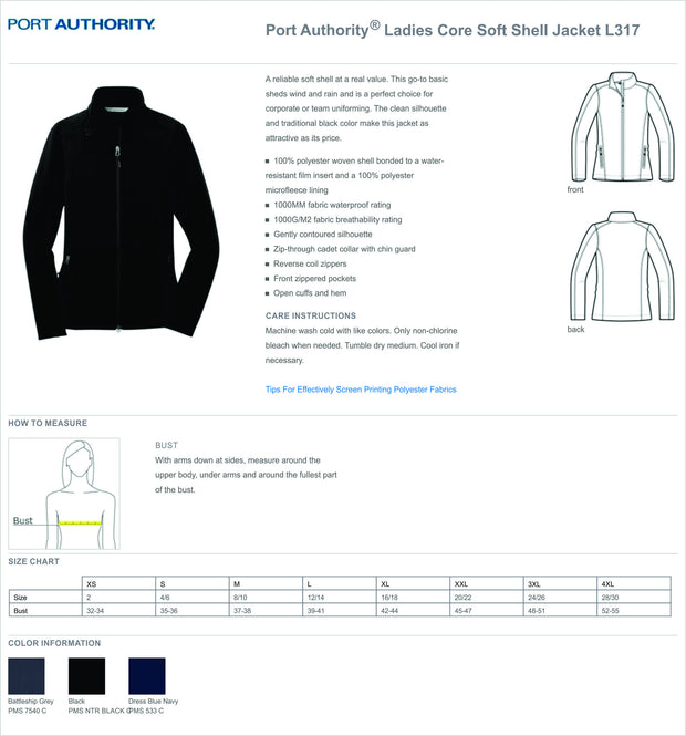 BWMC Nursing Support Svs Soft Shell Female Jacket L317