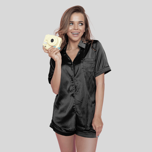 Black Short Silk Pyjamas