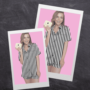 Black Stripe Short Silk Pyjamas