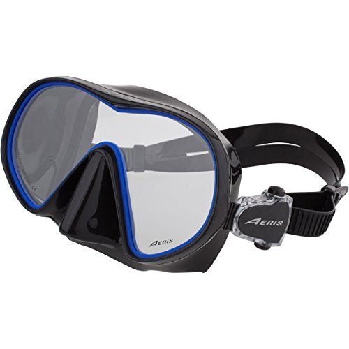 New Aeris Mini Origin Scuba Diving & Snorkeling Mask (Blue Frame/Black Skirt) with Low Volume and Lightweight Frame