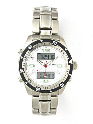 New DelMar Ocean Sport MultiFunction Men's Scuba Diving Watch & Underwater Timer for Scuba Divers (White)