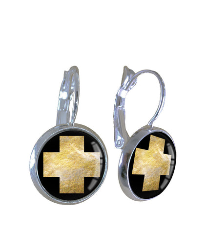Earrings | Gold leaf cross - gonepottynz