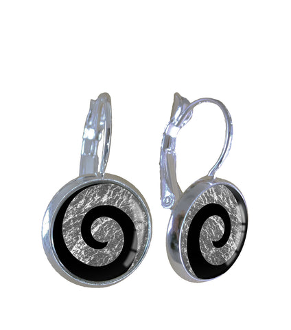 Silver leaf koru - Earrings - Gone Potty - Gift Shop Dunedin