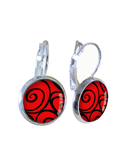 Earrings | Black swirl on red - gonepottynz