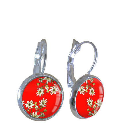 Clematis red - Earrings - gonepottynz
