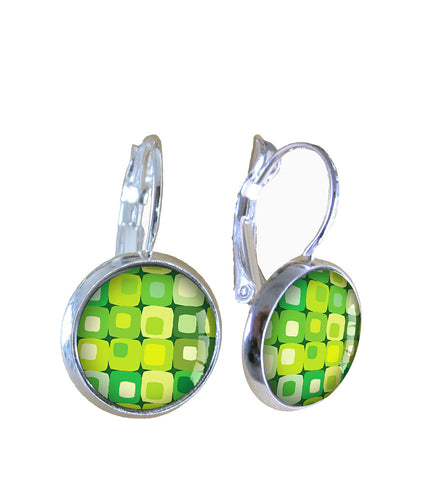 Green squares - Earrings - gonepottynz