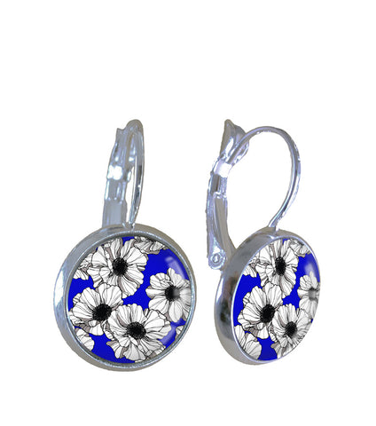 White & Blue Floral - Earrings - gonepottynz